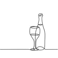 Continuous line drawing. Wine bottle and glass contour. Black outline vector.