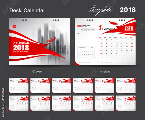 Cover Calendar Design Vector : Quot set desk calendar template design red cover of