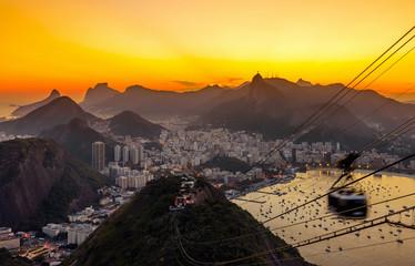 Sunset view of Corcovado, Urca and Botafogo in Rio de Janeiro. Brazil