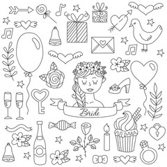 Black and white wedding love doodle icons vector set