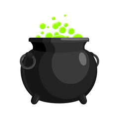 Magic Witch Cauldron. magical boiler isolated on white background