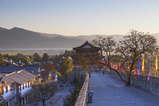 City Walls and South Gate at dawn, Dali, Yunnan, China