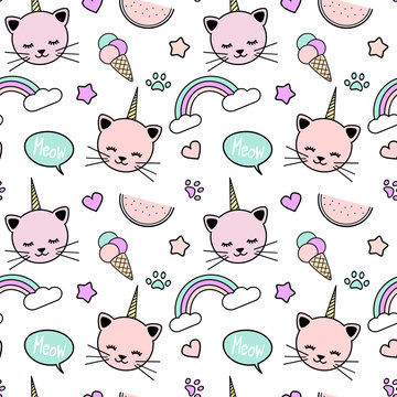 cute colorful seamless vector pattern background illustration with unicorn cats, rainbow, speech bubble, ice cream, stars, hearts and paws