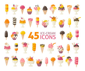 Collection of 45 five yummy ice cream icons isolated on white. Vector illustration.