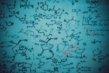 Hand-drawing chemical formulas background