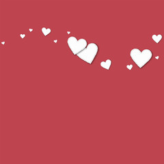 Cutout white paper hearts. Top wave with cutout white paper hearts on crimson background. Vector illustration.