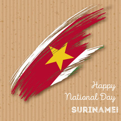Suriname Independence Day Patriotic Design. Expressive Brush Stroke in National Flag Colors on kraft paper background. Happy Independence Day Suriname Vector Greeting Card.