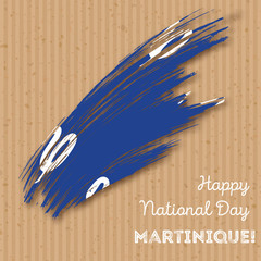 Martinique Independence Day Patriotic Design. Expressive Brush Stroke in National Flag Colors on kraft paper background. Happy Independence Day Martinique Vector Greeting Card.