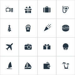 Vector Illustration Set Of Simple  Icons. Elements Boat, Wallet, Airplane And Other Synonyms Sailing, Hamburger And Fly.