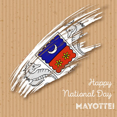 Mayotte Independence Day Patriotic Design. Expressive Brush Stroke in National Flag Colors on kraft paper background. Happy Independence Day Mayotte Vector Greeting Card.