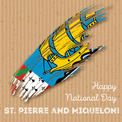 St. Pierre and Miquelon Independence Day Patriotic Design. Expressive Brush Stroke in National Flag Colors on kraft paper background.