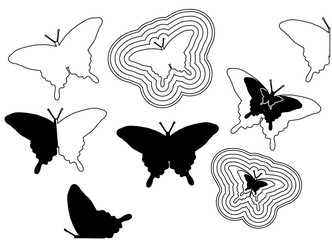 Black outline butterfly. Different vector black butterflies. Silhouettes and butterfly contours. Black butterfly logo for design. Butterfly circuit