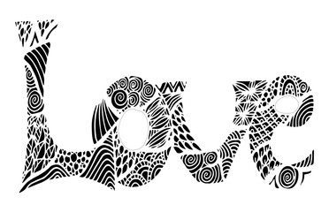 Hand drawn word love doodle stylized, vector, illustration