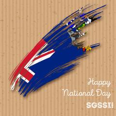 SGSSI Independence Day Patriotic Design. Expressive Brush Stroke in National Flag Colors on kraft paper background. Happy Independence Day SGSSI Vector Greeting Card.