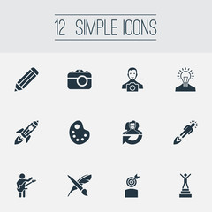 Vector Illustration Set Of Simple Creative Thinking Icons. Elements Creative, Brush, Drawing Tool And Other Synonyms Exactness, Entrepreneur And Brush.