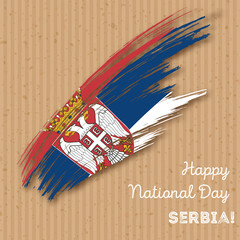 Serbia Independence Day Patriotic Design. Expressive Brush Stroke in National Flag Colors on kraft paper background. Happy Independence Day Serbia Vector Greeting Card.