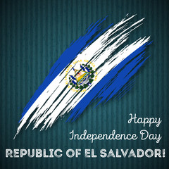Republic of El Salvador Independence Day Patriotic Design. Expressive Brush Stroke in National Flag Colors on dark striped background.