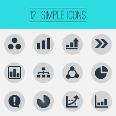 Vector Illustration Set Of Simple Diagram Icons. Elements Circuit, Ahead, Progress And Other Synonyms Report, Information And Part.