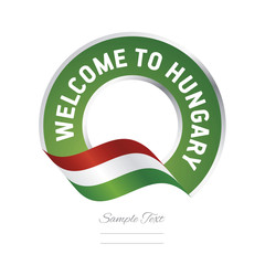 Welcome to Hungary flag green label logo icon