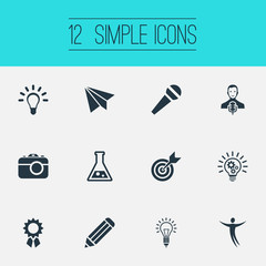 Vector Illustration Set Of Simple Visual Art Icons. Elements Cogwheel, E-Mail, Accuracy And Other Synonyms Microphone, Performance And Photography.