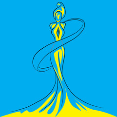 Statuette girl silhouette blue with yellow