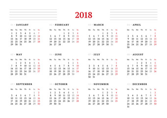 Calendar for 2018 year on white background. Vector design print template. Week starts on Monday. Stationery design