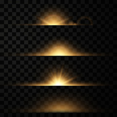 Vector set of glow light effect Glowing stars bursts with sparkles isolated on transparent background.