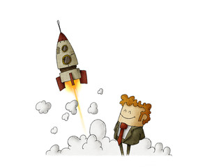 success businessman with rocket launching