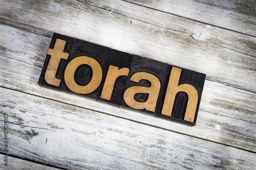Torah Letterpress Word on Wooden Background