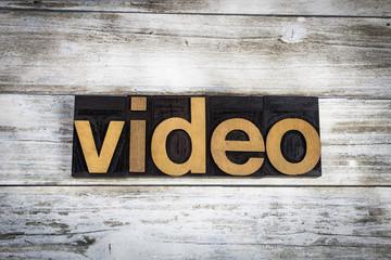 Video Letterpress Word on Wooden Background