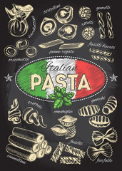 Different types of authentic Italian pasta. Hand drawn set. Vector illustration on the blackboard. Menu or signboard template for restaurant.