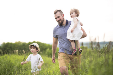 Happy young family on a walk