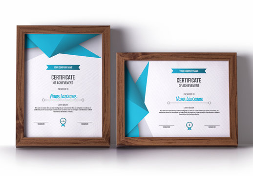 Award Certificate Layout with Blue Angular Accents