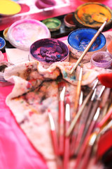 Accessories of paint art, brush and paint