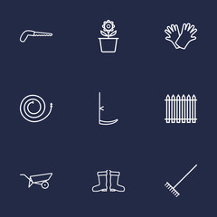 Set Of 9 Household Outline Icons Set.Collection Of Safer Of Hand , Arm-Cutter, Plant Pot Elements.