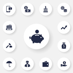 Set Of 13 Finance Icons Set.Collection Of Building, Worker, Sack And Other Elements.