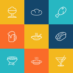 Set Of 9 Eat Outline Icons Set.Collection Of Porridge, Bread, Cocktail And Other Elements.