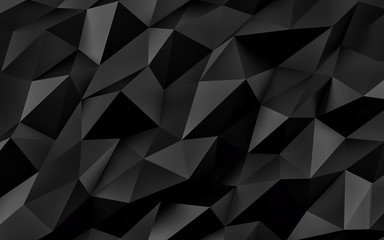 Abstract black geometric background. Gold texture with shadow. 3D render