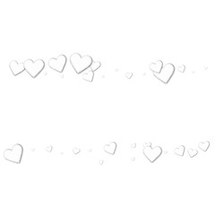 Beautiful white paper hearts. Scatter lines on white background. Vector illustration.