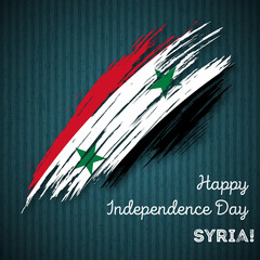 Syria Independence Day Patriotic Design. Expressive Brush Stroke in National Flag Colors on dark striped background. Happy Independence Day Syria Vector Greeting Card.