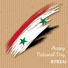 Syria Independence Day Patriotic Design. Expressive Brush Stroke in National Flag Colors on kraft paper background. Happy Independence Day Syria Vector Greeting Card.