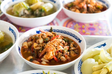 Curry shrimp with squid.
