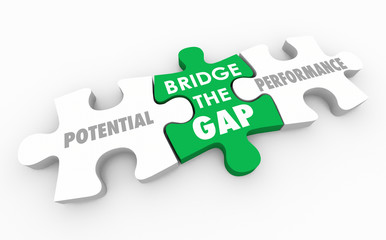 Bridge the Gap Between Potential and Performance Puzzle 3d Illustration