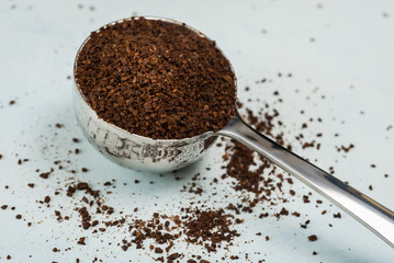A scoop of coffee grounds