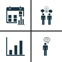 Authority Icons Set. Collection Of Planning, Presentation Date, Co-Working And Other Elements. Also Includes Symbols Such As Graph, Bar, Manage.