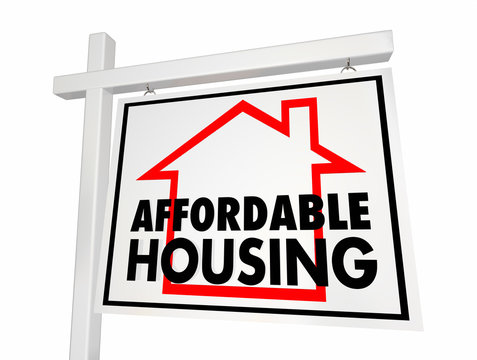 Affordable Housing Home for Sale Sign 3d Illustration