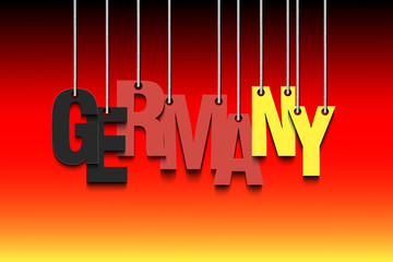 The word Germany hang on the ropes