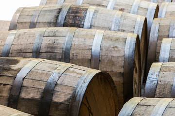 Fototapete - Old Bourbon Barrels Waiting to Be Emptied