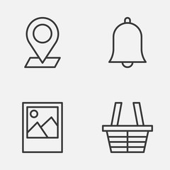 Web Icons Set. Collection Of Pinpoint, Alert, Shop And Other Elements. Also Includes Symbols Such As Alert, Image, Check.