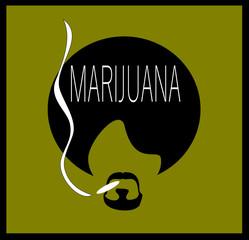 man smoking with large afro marijuana